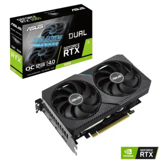 Placa de Vídeo VGA Asus GeForce RTX 3060 OC 12GB GDDR6 192bit DUAL-RTX3060-O12G